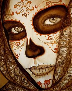 Lovely Calaca . Day of the dead sugar skull art .