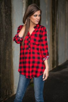 """Plaid Parade Top, Red"" 