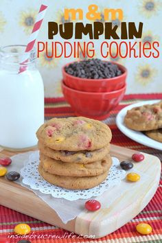 Pumpkin Pudding Cookies - soft chewy cookies made with pumpkin pudding, chocolate chips and M and M candies  http://www.insidebrucrewlife.co...