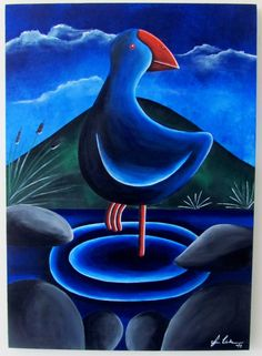 Pukeko painting New Zealand Art, Healthy Snacks For Adults, Stained Glass Birds, Painted Rocks Kids, Kiwiana, Painting Videos, Mixed Media Canvas, Pebble Art, Rock Painting