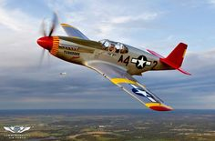 A great picture of a North American P-51C Mustang.