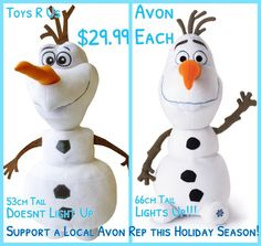Olaf comparison! Please help me reach my goal and buy from me this holiday season :)