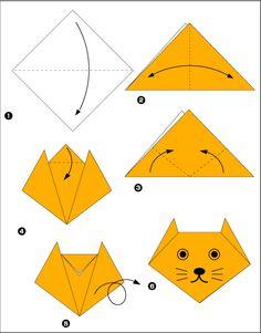 Gatinho de Origami: Faça você mesmo! <3