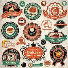 Colección de etiquetas de los alimentos grunge retro vintage, insignias y los iconos