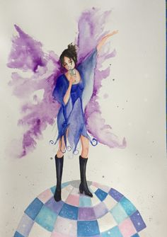This #original #watercolour #painting of a cute #fairy was inspired by my sister. She has big #purple #wings, and wears #disco #boots as she is #dancing on top of the #discoball and #singing intoner #wine glass. #Art #artist #deenoney