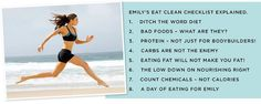Tips for eating clean - Guest post by Emily Skye Fitness Nutrition, Health And Nutrition, Fitness Facts, Clean Eating Recipes, Eating Clean, Clean Foods, Eating Healthy, Healthy Food, Post Pregnancy Workout