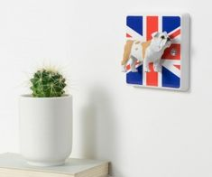 British Bulldog Light Switch - Bulldog Gift - Decorative Light Switch - Bulldog Gifts, Decorative Light Switches, Union Jack Decor Decor, GB by CandyQueenDesigns on Etsy Light Switch Plates, Light Switch Covers, Handmade Decorations, Light Decorations, Union Jack Decor, Designer Light Switches, Skateboard Furniture, Cat Bedroom, Bedroom Decor