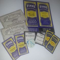 Vintage advertising paper lot 10 old blue unused bottle labels food color flavorings extracts NOS ephemera altered art mixed media supplies