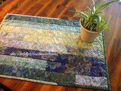 Batik Scrappy Blue Green Table Runner Topper by HandmadeBits4u