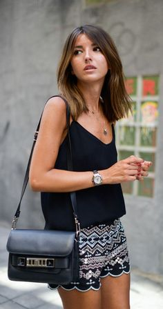 black cami and embellished shorts
