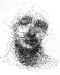 Scribbled Portraits of Brooding Figures by Adam Riches Scribble Drawing, Rich Art, Scribble Drawings, Scribble Art, Illustration Art, Art, Drawings Pinterest, Hand Art, Portrait Art