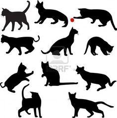 Katzen Silhouetten Sammlung - Vektor Stockfoto