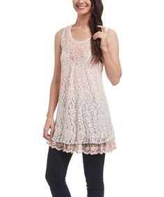 Look what I found on #zulily! Pink Lace Linen-Blend Tunic #zulilyfinds