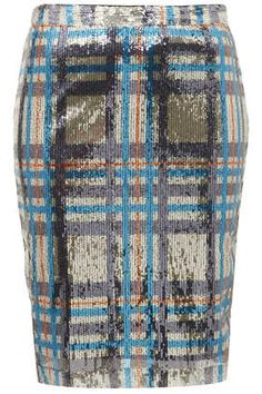 Topshop Sequin Check Pencil Skirt (ON SALE!)