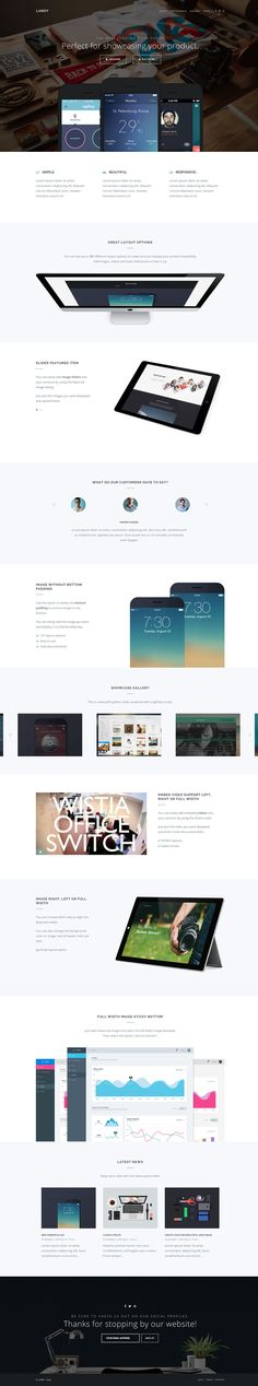 'Landy' is a slick One Page WordPress theme perfect to show off your application for any mobile device: https://onepagelove.com/landy The responsive layout is really clean and definitely considerate to whitespace. Features include 12+ different page layouts, translation ready and I particularly like that Lightbox integrated slider in the Showcase Gallery section. Playne Themes have done a great job here.