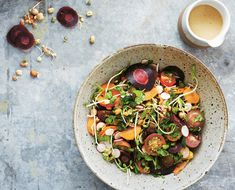 Yummy salad, and cleanse worthy!  Super Sprout Salad with Tahini Dressing