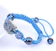 Blue Double X Rhinestone Beads Crystal Balls Charms Bracelet Cords Adjustable