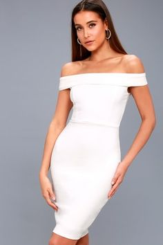 Charm and Delight White Off-the-Shoulder Bodycon Dress 6
