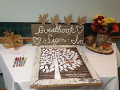 Rustic Wood Wedding Tree | Guest Book Alternative | Rustic Wedding | Customer Photo - Beautiful Table Display!| Wedding Color - Orange | peachwik.com