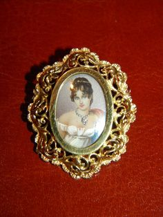 Vintage Italian 18k Painted Miniature Portrait, Diamond Jeweled Lady from jenandivintagejewels on Ruby Lane