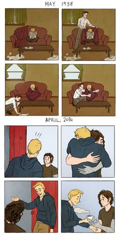 Steve and Bucky, before and after
