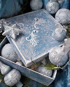 """Набор новогодних шаров большой """"Прелюдия праздника"""" - голубой,шары на елку"""