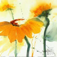 Sunflower V Art Print by Marthe at Art.com | Orange Yellow Flower Art