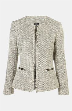 Topshop Fringe Bouclé Jacket available at #Nordstrom I need a jacket like this! I have wanted one for so long...Chanel would be nice...but this will do! ;)