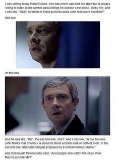 I don't really ship johnlock but this is funny