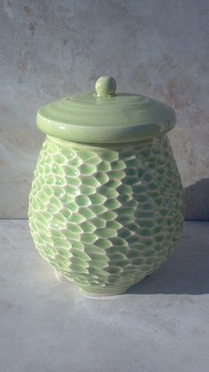 Spring Green Hand Made Pottery Cookie Jar. Carving. Texture. Love how it looks kinda like scales.