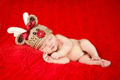 0 to 3 MONTHS Rudolph Reindeer Christmas Hat ... by bitOwhimsy, $39.00