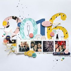 2016 New Year's Eve scrapbook layout by Flóra Mónika Farkas | Pink and Paper