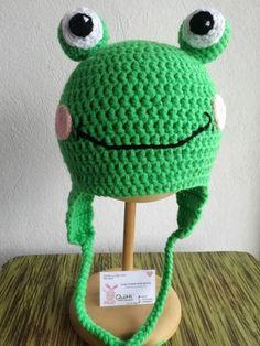 gorra de rana tejida a crochet
