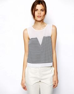Enlarge ASOS Shell Top in Stripe Ponti with Chiffon Panel