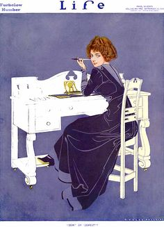 "Coles Phillips - Life Magazine cover (September 22, 1910) ""Dear or Dearest?""  Fadeaway girl"