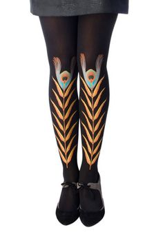 Black Peacock Feather Tights, $29.99
