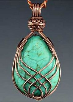 wire wrap--love that bead at the top! The Pinterest board this pin comes from, has all kinds of wire wrap techniques.