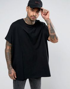 ASOS Extreme Oversized T-Shirt In Heavy Jersey In Black - Black