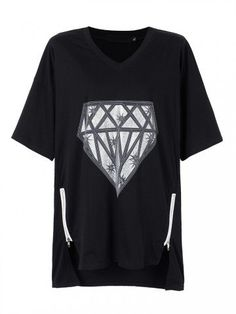 Women Loose Diamond Printed V-Neck Short Sleeve Irregular T-Shirt