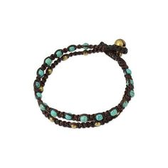 NOVICA Brass Bracelet Turquoise-color Gems Braided Jewelry (467290 BYR) ❤ liked on Polyvore featuring jewelry, bracelets, brass, wristband, macrame jewelry, brass bangles, boho bangles, boho turquoise jewelry and gemstone jewelry