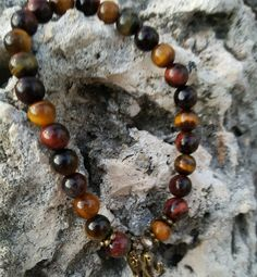 Red Blue & Yellow Natural Tiger's Eye by Wanderlust8Creations