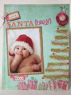 Santa Baby...Christmas Scrapbooking Page. LOVE the baker's twine. I think I could expand this idea to a 2 page layout 12x12.