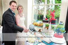 Movie theme wedding cake - each cake represents a different film! At Shottle Hall, Derbyshire. http://www.thestudio-mickleover.co.uk
