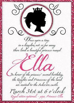 Princess Party Invitations - 5x7 Printables - Customized for your event and Little Princess