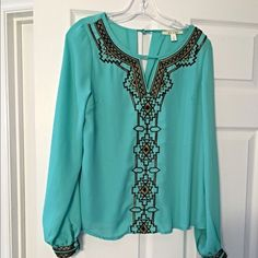 Last one! Stunning mint and gold blouse! Vibrant color with ornate gold trim on cuffs and center of blouse/ darling fit! Tops Blouses