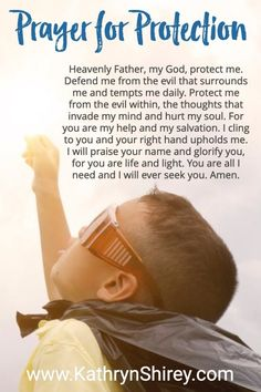 A daily prayer for protection from evil and temptation. Use this prayer to seek God's protection from the trials of this life. Plus, it's perfect for those who wonder how to pray. Prayer For Family, Say A Prayer, Prayer Scriptures, Bible Prayers, Catholic Prayers, Faith Prayer, God Prayer, Power Of Prayer, Prayer Quotes