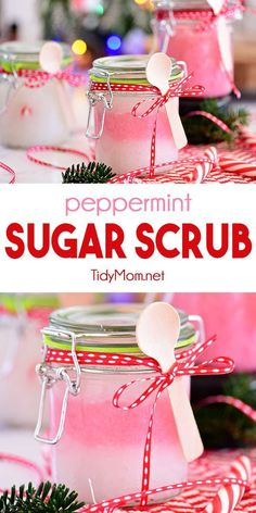 DIY 3 ingredient Peppermint Sugar Scrub is a real treat to gently nourish and deeply moisturize your skin. It only takes minutes to hand-blend a few simple ingredients that your skin will love. Great for handmade gifts - quick, simple and cute! Peppermint Sugar Scrubs, Coffee Face Scrub, Sugar Scrub Recipe, Homemade Gifts, Homemade Beauty, Diy Craft Projects, 3 Ingredients, Diy Beauty, Beauty Hacks