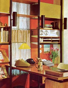 So much colour! A fully equiped 1970's home office.