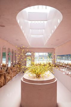 Top 5 Things We Want to Copy from Glossier's New L. Store millennial pink inside of glossier store with oval island and skylightmillennial pink inside of glossier store with oval island and skylight Design Boutique, Boutique Interior, Design Retro, Vintage Design, Retail Store Design, Retail Shop, Store Interior Design, Commercial Design, Commercial Interiors