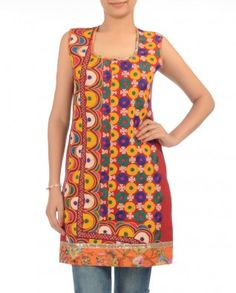#Exclusivelyin, #IndianEthnicWear, #IndianWear, #Fashion, Brick Red Tunic with Kutch Embroidery